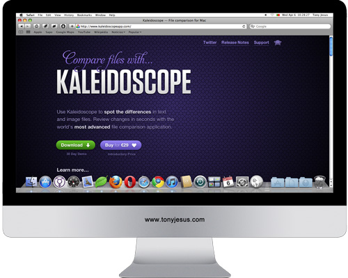 Screenshot of Kaleidoscope app website