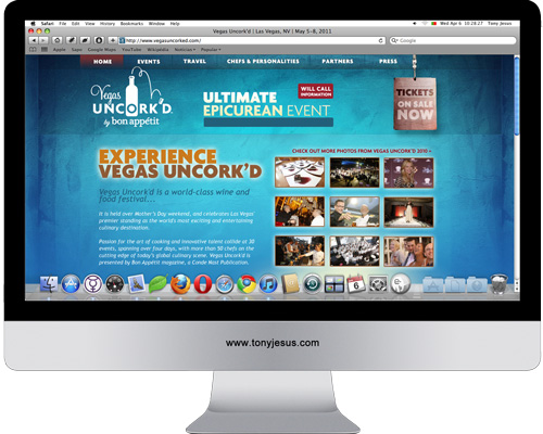 Screenshot of Vegas Uncorked website