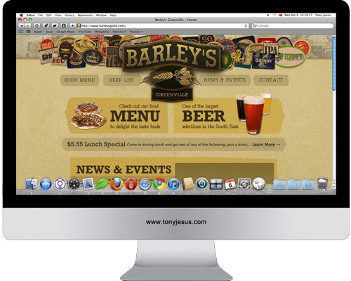 Screenshot of Barley's Greenville website