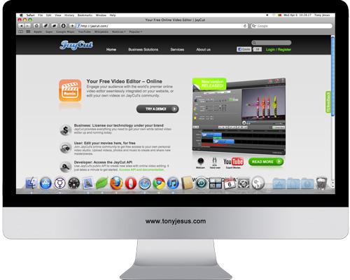 Screenshot of JayCut website