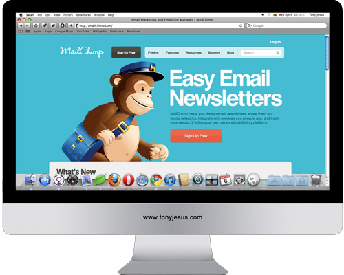 Screenshot of MailChimp website