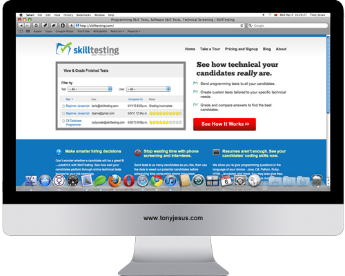 Screenshot of SkillTesting website