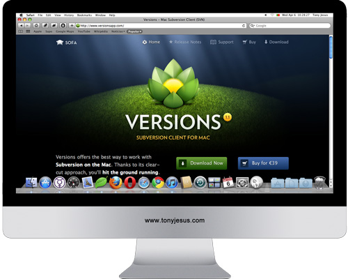 Screenshot of Versions App website