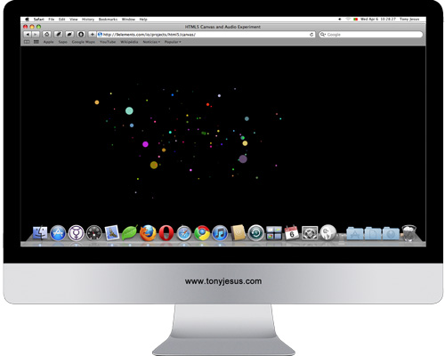 Screenshot of HTML5 Canvas and Audio Experiment