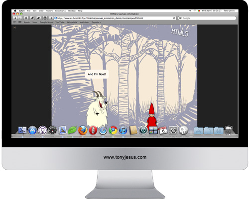 Screenshot of Canvas Animation demo using HTML5