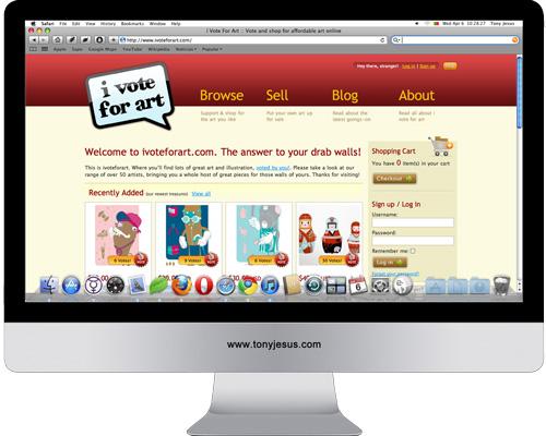 Screenshot of I vote for art website