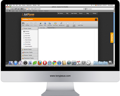 Screenshot of JotForm
