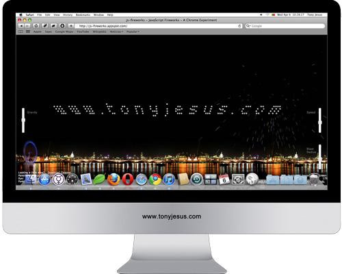Screenshot of JavaScript Fireworks – A Chrome Experiment