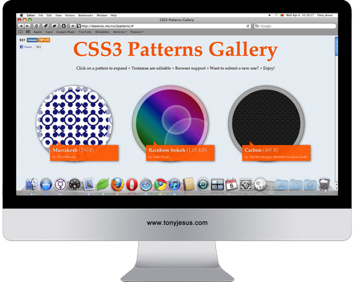 Screenshot of http://leaverou.me/css3patterns/