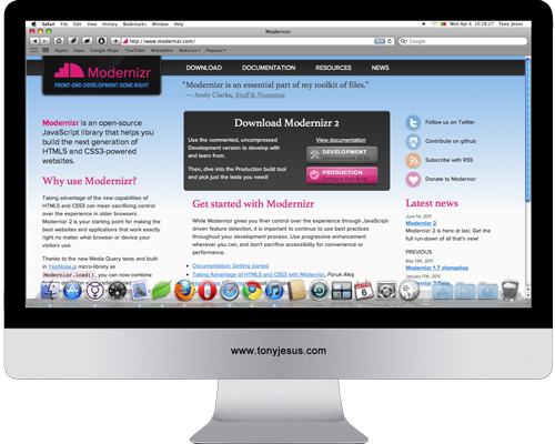Screenshot of http://www.modernizr.com/