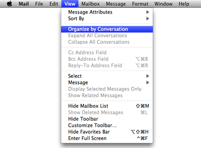 screenshot showing how to ungroup conversations in mail